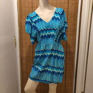 Derek Heart Blue V neck flowy sleeves mini dress
